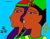 Disegno Ramses e Nefertiti pitturato su helena
