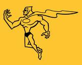 Disegno Supereroi potente pitturato su Squalo