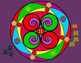 Disegno Mandala 5 pitturato su helena