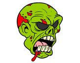 Disegno Testa di zombie pitturato su nicoemma