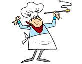 Disegno Cuoco II pitturato su matylan
