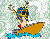Disegno Egiziano navigatore pitturato su matylan