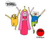 Disegno Jake, principessa Bubblegum e Finn pitturato su matylan
