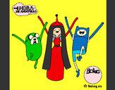 Disegno Jake, principessa Bubblegum e Finn pitturato su WalViolet