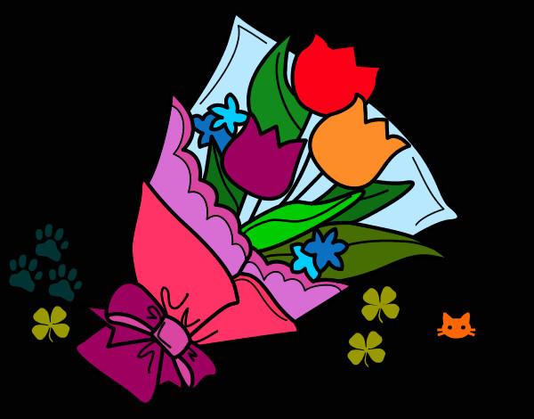 Disegno mazzo di tulipani colorato da helena il 03 di for Disegni del mazzo del cortile
