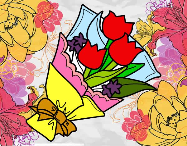 Disegno mazzo di tulipani colorato da lori il 31 di luglio for Disegni del mazzo del cortile