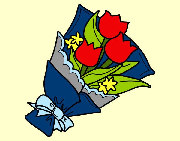 Disegno mazzo di tulipani colorato da walviolet il 03 di for Disegni del mazzo del cortile