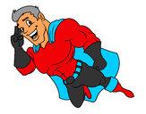 Disegno Supereroi volare pitturato su rosi82