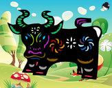 Disegno Segno del bue pitturato su lau452000