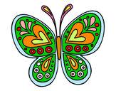 Disegno Mandala farfalla pitturato su loschi