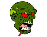 Disegno Testa di zombie pitturato su Bianca03