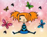 Disegno Ragazza con le farfalle pitturato su marti625