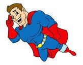 Disegno Supereroi volare pitturato su aless