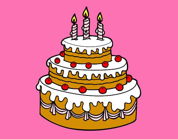 Disegno Compleanno: Disegno Torta Cioccolatosa Con Le Candeline E Ciliege