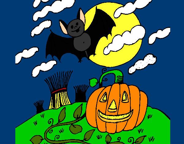 Disegno Halloween Paesaggio Colorato Da Giorgia Il 23 Di Ottobre Del