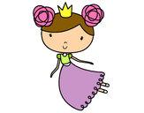 Disegno Principessa volante pitturato su sonia