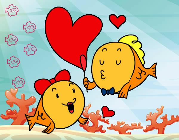 Disegno pesciolini innamorati colorato da ketty10 il 01 di for Immagini pesciolini