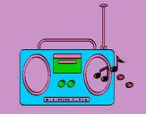 Disegno Radio cassette 2 pitturato su Gaiac