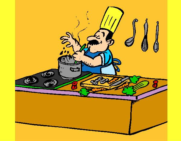 Disegno cuoco in cucina colorato da gaiac il 23 di for Disegni da colorare cucina