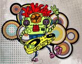 Disegno Robot DJ pitturato su Rocky