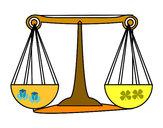 Disegno Segno di Bilancia pitturato su Antof