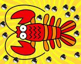 Disegno Crustacea pitturato su cristina