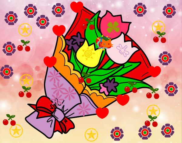 Disegno mazzo di tulipani colorato da bianca il 28 di for Disegni del mazzo del cortile anteriore