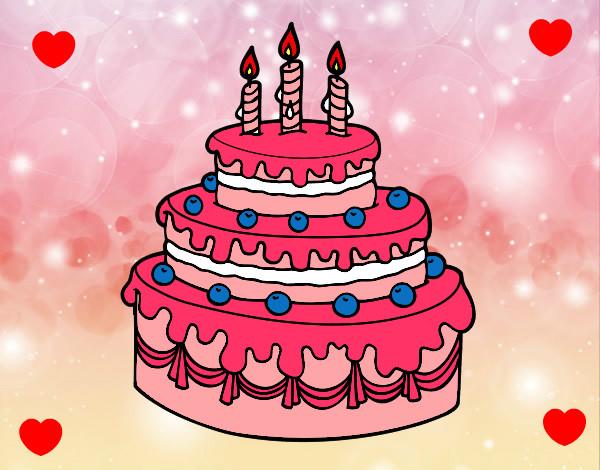 Disegno Compleanno: Disegno Dolce Di Compleanno Colorato Da Estrelias Il 06 Di
