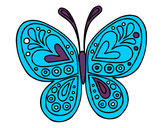 Disegno Mandala farfalla pitturato su ilenia