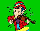 Disegno Folletto che suona il violino pitturato su coretto