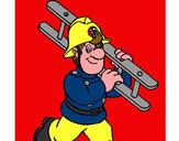 Disegno Pompiere  8 pitturato su rosamsic