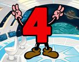 Disegno Numero 4 pitturato su coretto