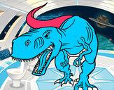 Disegno Tyrannosaurus Rex arrabbiata pitturato su coretto