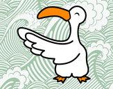 Disegno Gabbiano felice pitturato su ArwenC