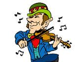 Disegno Folletto che suona il violino pitturato su kkpier1