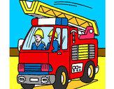 Disegno Camion dei Pompieri  pitturato su amir