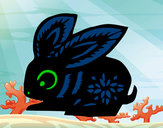 Disegno Segno del coniglio pitturato su christophe