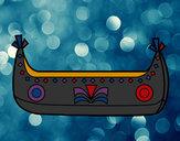 Disegno Barca indiano pitturato su lucatoro