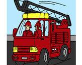 Disegno Camion dei Pompieri  pitturato su lucatoro