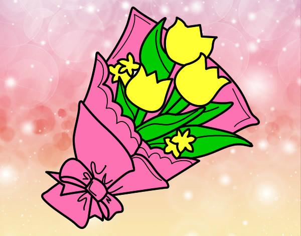 Disegno mazzo di tulipani colorato da christophe il 03 di for Disegni del mazzo del cortile