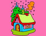 Disegno Casa innevata  pitturato su Enzetto