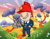 Disegno Vigile del fuoco professionali pitturato su xavigas