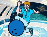 Disegno L'uomo bowling pitturato su ale04
