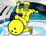 Disegno L'uomo bowling pitturato su marco04