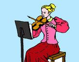 Disegno Dama violinista  pitturato su Monci