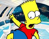 Disegno Bart 2 pitturato su sarag