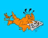 Disegno La cicogna gioca con vari passatempi  pitturato su GABRIEL17