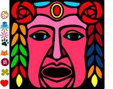 Disegno Maschera Maya pitturato su carl