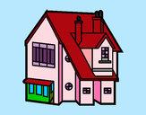 Disegno Casa unifamiliare pitturato su violaviola
