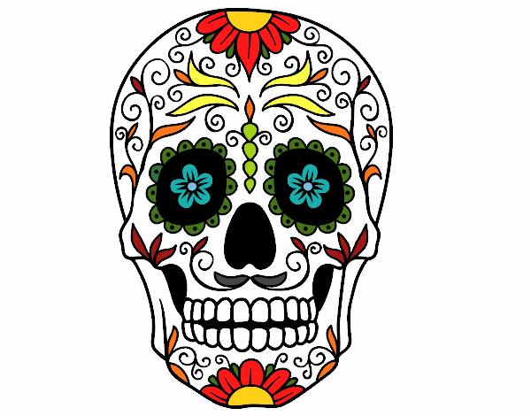 Disegno teschio messicano colorato da utente non for Teschi da disegnare